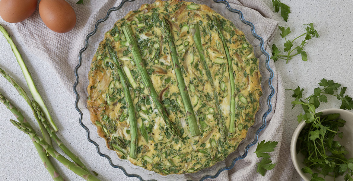 Frittata with asparagus and shallots